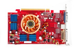 red video card with blue and orange coolers isolated on white