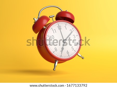 Red vintage alarm clock falling on the floor with bright yellow background in pastel colors. Minimal creative concept. 3d rendering illustration