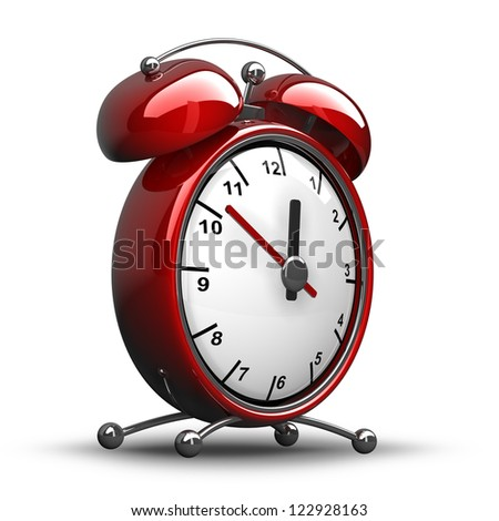 Red vintage alarm clock isolated on white background  High resolution 3d render