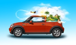 Red vintage car with an island and sea with palm trees with aircraft flying around through the clouds. Unusual summer travel 3d illustration. Summer vacation concept