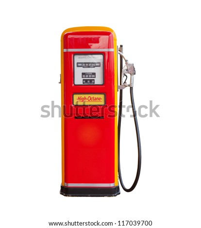 red vintage gasoline pump over...