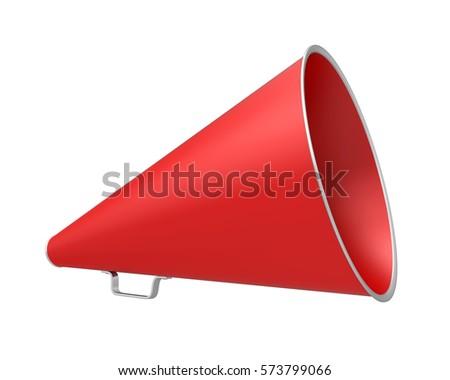 red vintage megaphone. 3d...