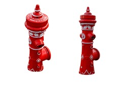 Red vintage red metal fire hydrants on white background isolated
