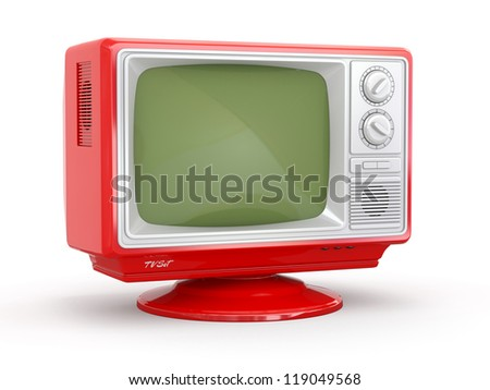 Red vintage retro tv on white background. 3d