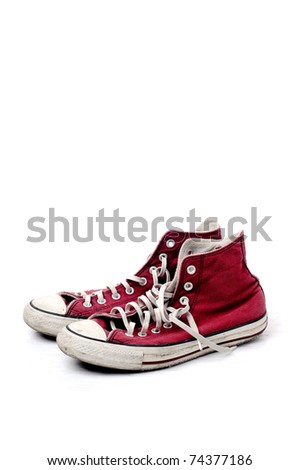 red vintage shoes on white background