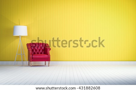 red vintage sofa on the yellow wall  room 3d rendering