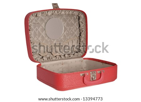 Red vintage suitcase - opened - stock photo