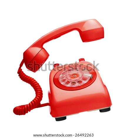 Red vintage telephone ringing