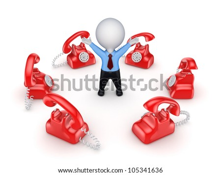 Red vintage telephones around 3d small person.Isolated on white background.