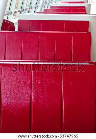 Red vinyl booths in a diner type restaurant