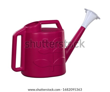 Red-Violet sprout on white background, watering pot, garden water pot,  Watering can, Watering can isolated, Watering flowers with a water can in garden, water can, plastic water, 3D rendering, Red-Vi