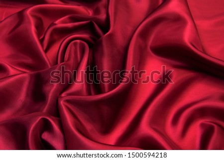 Red viscose fabric texture. Background, pattern. #1500594218