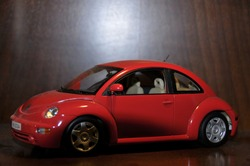 red Volkswagen Beetle clasic model