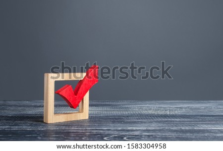 Red voting tick. Checkbox. Democratic elections, referendum. The right to choose, change of power. Checklist for verification and self-discipline. Necessary quality criteria, skills, approval symbol Stock photo ©