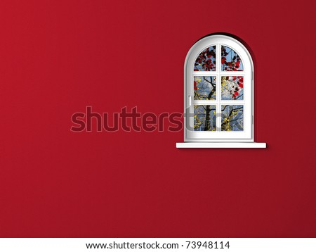 red wall and white round arch window