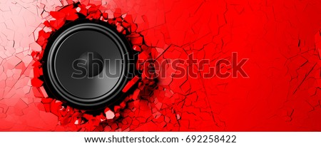 Red wall breaks from the sound of a loudspeaker. 3d illustration