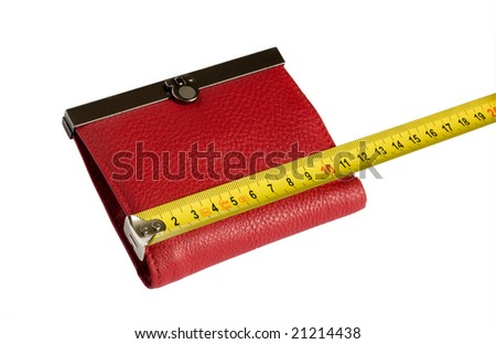 Red wallet and yellow tape measure isolated on white background