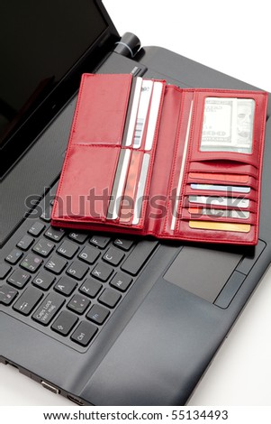 Red Wallet, Credit Card and keyboard