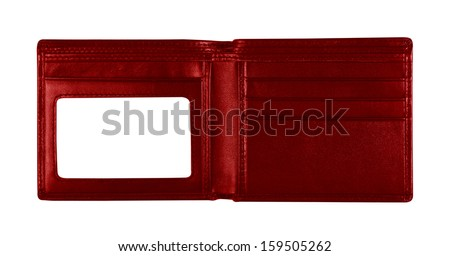 red wallet for put card on white background, included clipping path
