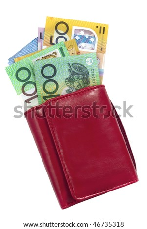 Red wallet with Australian money, including one hundred and fifty dollar bills.