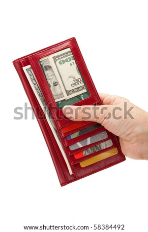 Red Wallet with money and Credit Card