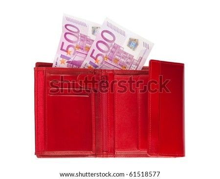 Red wallet with two five-hundred-euro banknotes, isolated over a white background.