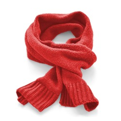 Red warm scarf on a white background
