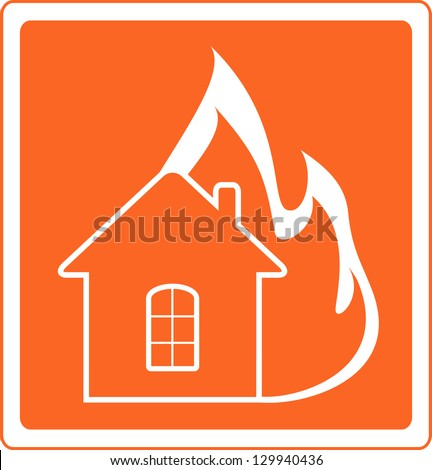 red warning sign with house fire