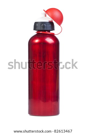 red water Bottle on white background