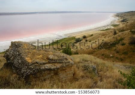 Red water of salt Kuyalnicky liman,analog of Dead sea,Odessa,Ukraine