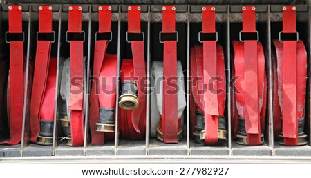 red water pipes of firemen to fire off