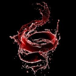 red water splash. water. water spray with drops isolated.water splash on dark black background