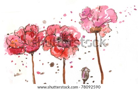 Red watercolor flowers - stock photo
