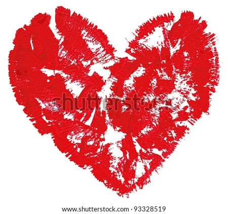 Red watercolor heart isolated on white background.