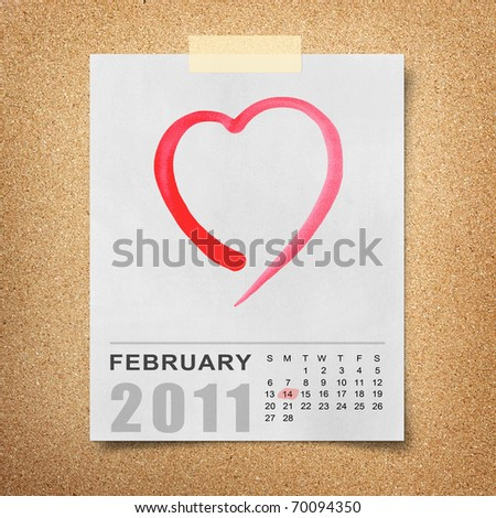 red watercolor heart on Calendar 2011 Note paper