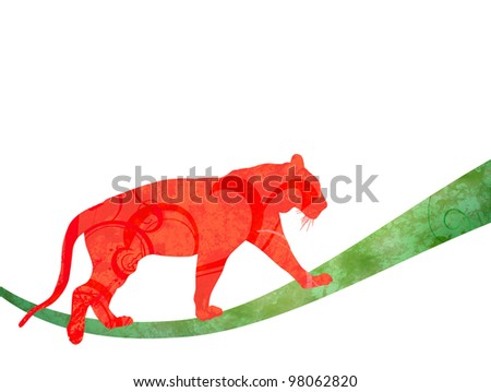 red watercolor jungle cat (panther or tiger) silhouette illustration  isolated on white