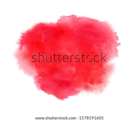 Red watercolor stain with splash, watercolour paint strokes, blots and wet edges. Texture background for Valentine day
