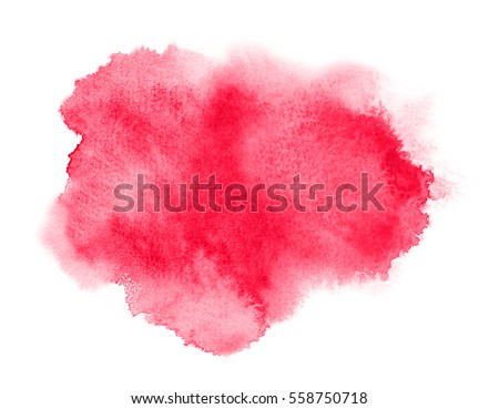 Red watercolor stain with wash. Watercolor texture for Valentine day or wedding