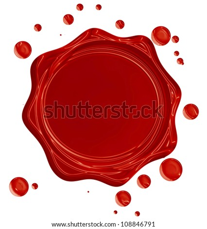 Red wax seal isolated on a solid white background
