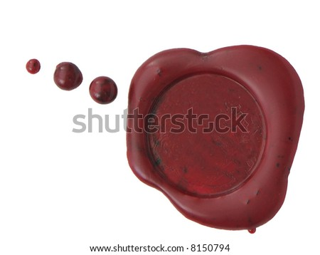Red wax seal to close envelopes, letters, or contracts. Isolated on white - stock photo