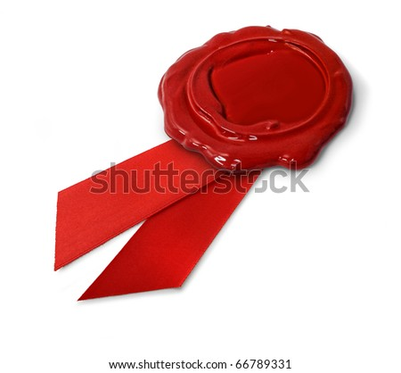 Red wax seal with ribbon isolated on white background