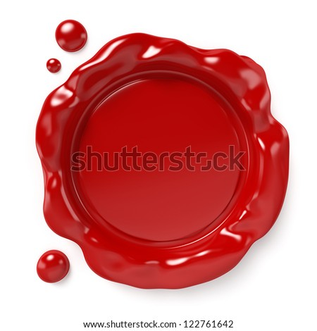 Red wax seal with space for logo or text isolated on white background. Computer generated image with clipping path.