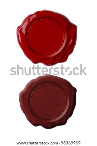 Red wax seals or signets set isolated on white