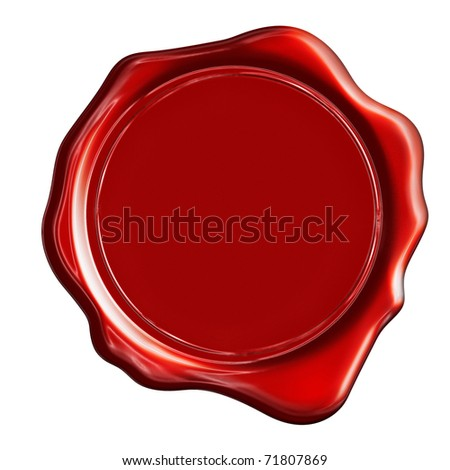 Red wax stamp on a white background