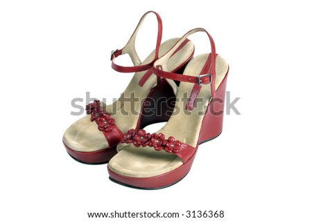 Red Wedge heel vintage women s shoes isolated on white background