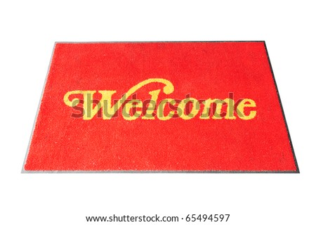 Red Welcome Carpet Isolated  On White Background