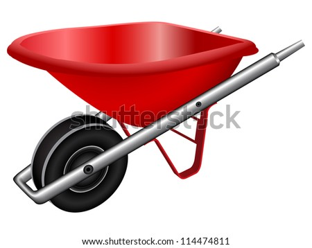 red wheel barrow against white background, abstract art illustration; image contains gradient mesh