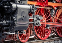 red wheels of a old steam locomotive