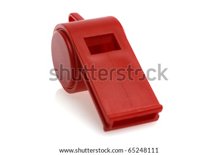Red whistle isolated on white