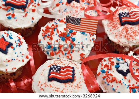 Red, White and Blue American holiday celebration cupcakes.